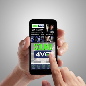 Hand holding mobile smart phone-Sound4VOApp